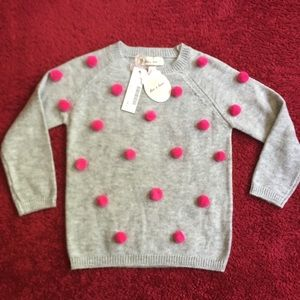 Doe a dear Pom Pom knitted sweater NWT